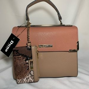 Dune London handbag snakeskin and color block